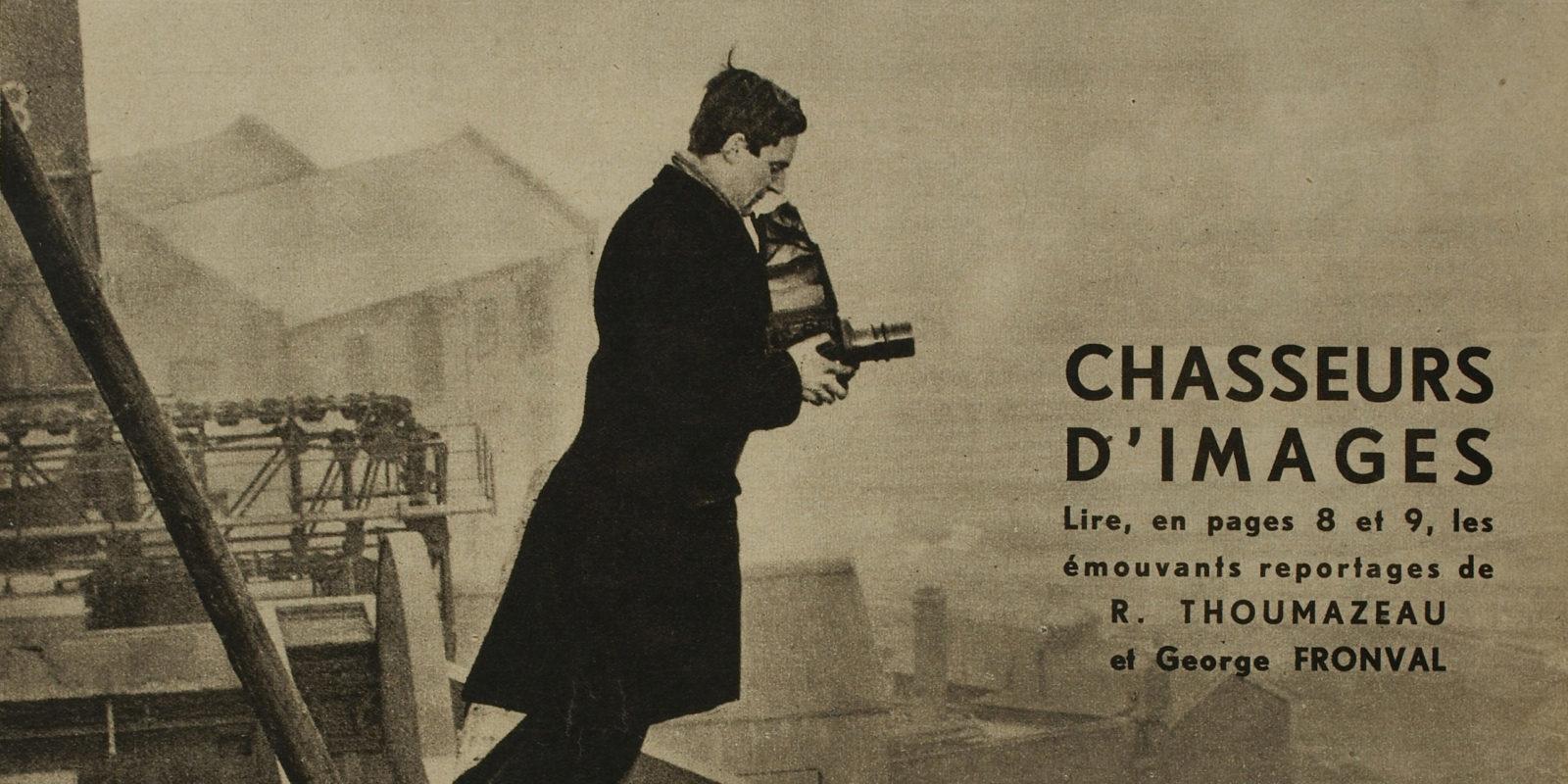 Un chasseur d'images et son appareil à visée reflex, couverture de VOILA – 33, 7 novembre 1931.